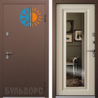 Стальная дверь с зеркалом Бульдорс TERMO-2 Белый перламутр