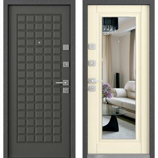 Стальная входная дверь с зеркалом Mastino Marke/Mare Дуб графит/Шамбори светлый