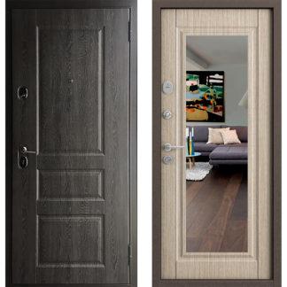 Заказать белую дверь с зеркалом Бульдорс-15 Т Дуб графит/Дуб крем