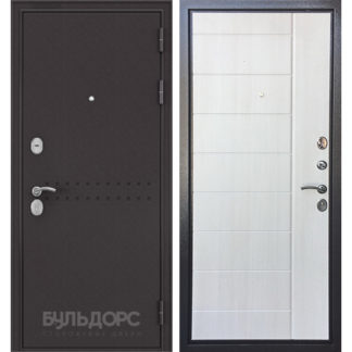 Входная дверь Бульдорс Комбат Букле шоколад R-4/Ларче бьянко V-9 от официального представителя