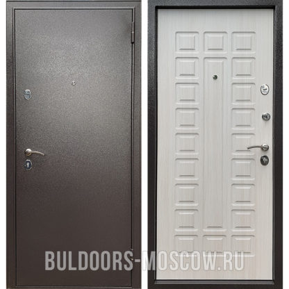 Светлая входная дверь Бульдорс Econom Букле шоколад/Ларче Бьянко Е-110