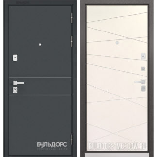 Стальная входная дверь Бульдорс PREMIUM-90 Черный шелк D-14/Белый софт 9P-130