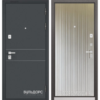 Стальная входная дверь Бульдорс PREMIUM-90 Черный шелк D-14/Ларче бьянко 9P-131