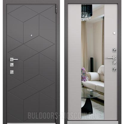 Металлическая входная дверь с зеркалом Mastino Forte Темный Пепел MS-112/Милк Матовый зерк. MS-120