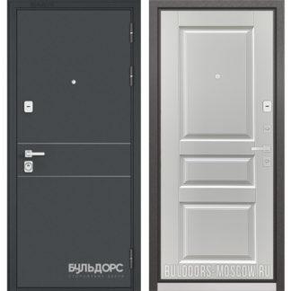 Металлическая входная дверь Бульдорс PREMIUM-90 Черный шелк D-14/Дуб белый матовый 9PD-2