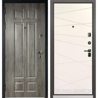 Железная входная дверь Бульдорс PREMIUM-90 Дуб шале серебро 9Р-115/Белый софт 9P-130