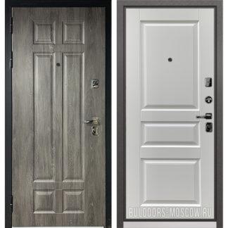 Входная металлическая дверь Бульдорс PREMIUM-90 Дуб шале серебро 9Р-115/Дуб белый матовый 9PD-2