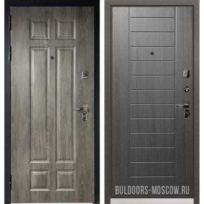 Стальная входная дверь Бульдорс PREMIUM-90 Дуб шале серебро 9Р-115/Дуб серый 9P-137