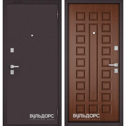 Металлическая дверь Бульдорс Mass-70 Букле шоколад/Дуб золотой М-110