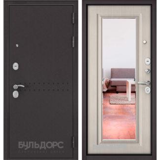 Купить в квартиру входную дверь с зеркалом Бульдорс Mass-90 Букле шоколад R-4/Ларче бьянко 9P-140