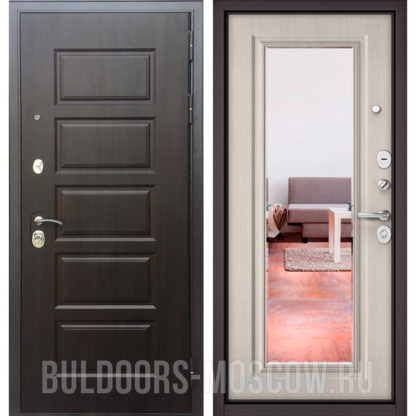 Стальная дверь с зеркалом Бульдорс Mass-90 Ларче шоколад 9S-108/Ларче бьянко 9P-140