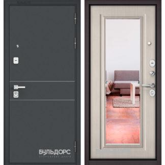 Металлическая входная дверь с зеркалом Бульдорс PREMIUM-90 Черный шелк D-14/Ларче бьянко 9P-140 mirror