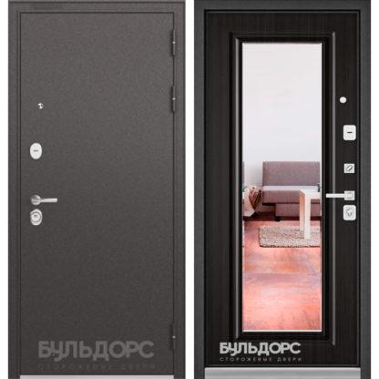 Железная входная дверь с зеркалом Бульдорс PREMIUM-90 Черный шелк/Ларче темный 9P-140, mirror