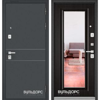 Стальная дверь с зеркалом Бульдорс PREMIUM-90 Черный шелк D-14/Ларче темный 9P-140 для квартиры