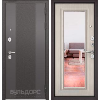 Входная дверь с зеркалом Бульдорс STANDART-90 Черный шелк 9К-4/Ларче бьянко 9P-140 mirror для квартиры