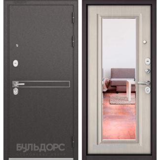 Стальная дверь с зеркалом Бульдорс STANDART-90 Черный шелк D-4/Ларче бьянко 9P-140, mirror