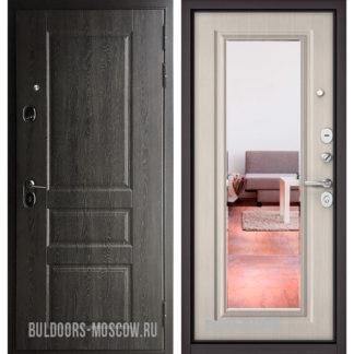 Входная железная дверь с зеркалом Бульдорс STANDART-90 Дуб графит 9SD-2/Ларче бьянко 9P-140 mirror