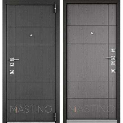 Входная металлическая дверь Mastino Forte Конструктор MS-114 Синхропоры графит/MS-114 Синхропоры титан
