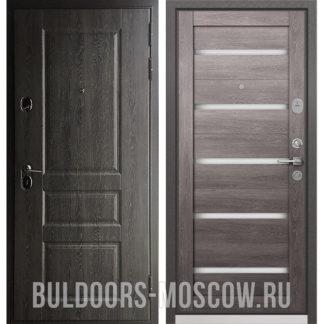 Металлическая дверь со стеклянными вставками Бульдорс STANDART-90 Дуб графит 9SD-2/Дуб дымчатый CR-3