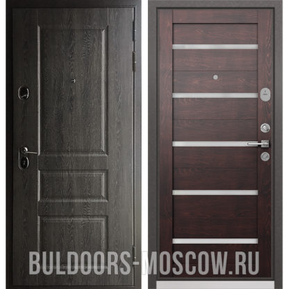 Железная дверь со стеклом Бульдорс STANDART-90 Дуб графит 9SD-2/Дуб темный CR-3