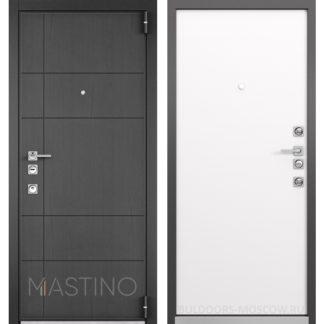 Стальная дверь Мастино Форте Конструктор MS-114 Синхропоры графит/MS-100 Молочный горизонт