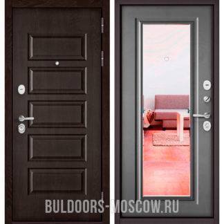 Купить входную дверь с зеркалом Бульдорс Mass-90 Ларче шоколад 9S-108/Бетон серый 9P-140
