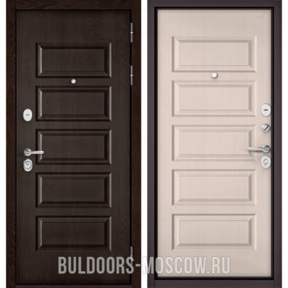 Купить стальную дверь Бульдорс Mass-90 Ларче шоколад 9S-108/Дуб светлый матовый 9S-108