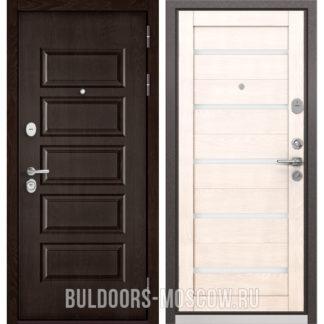 Железная входная дверь со стеклом Бульдорс Mass-90 Ларче шоколад 9S-108/Дуб жемчужный CR-3