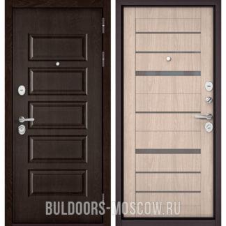 Железная дверь Бульдорс Mass-90 Ларче шоколад 9S-108/Ясень ривьера Айс CR-1 стекло серое