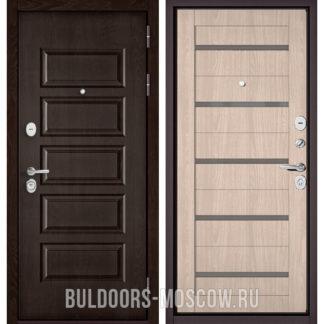 Металлическая дверь со стеклом Бульдорс Mass-90 Ларче шоколад 9S-108/Ясень ривьера Айс CR-3