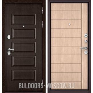 Стальная дверь Бульдорс Масс-90 Ларче шоколад 9S-108/Ясень ривьера крем 9S-136