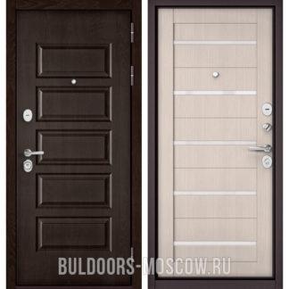 Входная дверь со стеклом Бульдорс Mass-90 Ларче шоколад 9S-108/Ларче Бьянко CR-3