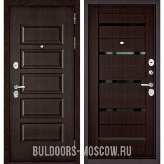 Входная дверь с черным стеклом Бульдорс Mass-90 Ларче шоколад 9S-108/Ларче шоколад CR-3