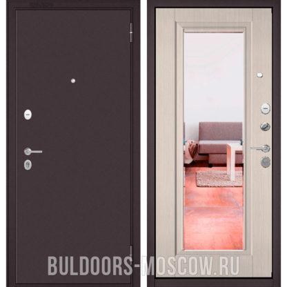 Входная стальная дверь с зеркалом Бульдорс Масс-70 Букле шоколад/Ларче бьянко СК-3