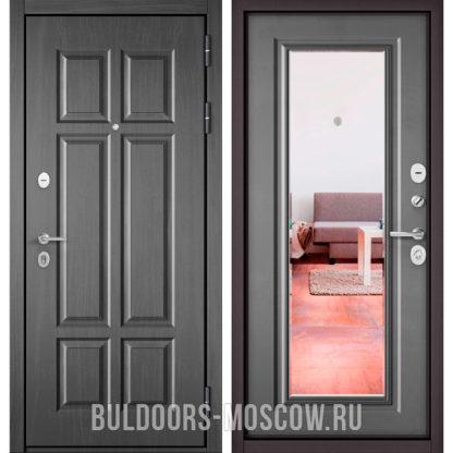 Входная дверь с зеркалом Бульдорс Mass-90 Бетон темный 9S-109/Бетон серый 9P-140
