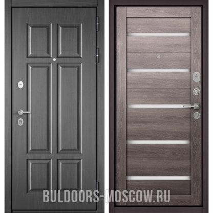 Входная железная дверь со стеклом Бульдорс Mass-90 Бетон темный 9S-109/Дуб дымчатый CR-3