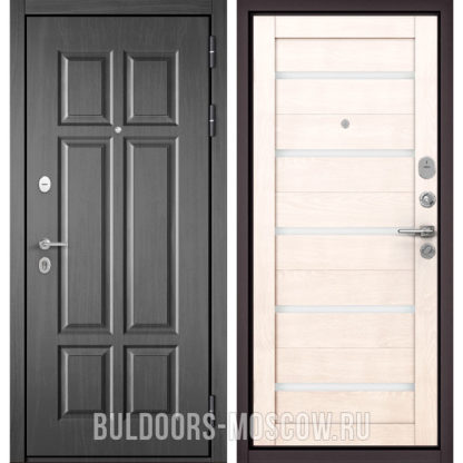 Металлическая дверь со стеклом Бульдорс Масс-90 Бетон темный 9S-109/Дуб жемчужный CR-3