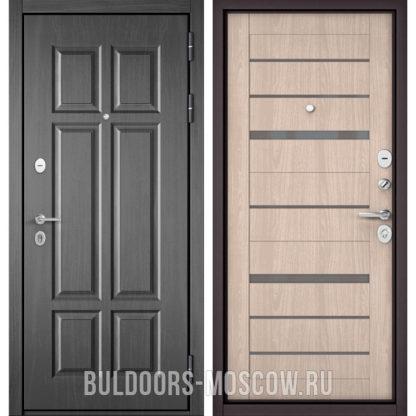 Металлическая дверь Бульдорс Mass-90 Бетон темный 9S-109/Ясень ривьера Айс CR-1 стекло серое