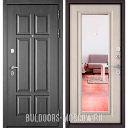 Входная дверь с зеркалом Бульдорс Масс-90 Бетон темный 9S-109/Ларче бьянко 9P-140