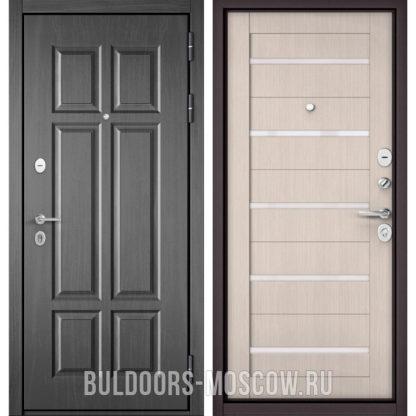 Стальная дверь со стеклом Бульдорс Mass-90 Бетон темный 9S-109/Ларче бьянко CR-3
