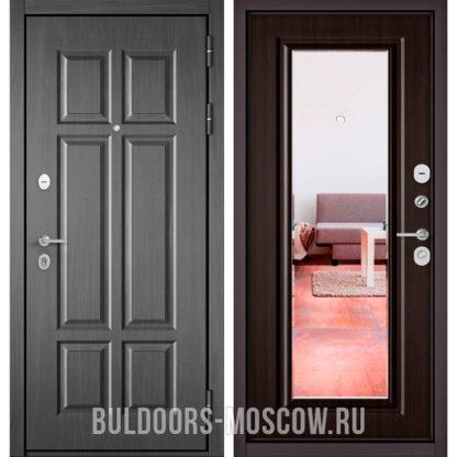 Железная дверь Бульдорс Mass-90 Бетон темный 9S-109/Ларче шоколад 9P-140 с зеркалом