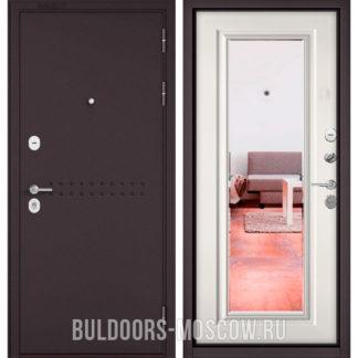 Железная дверь с зеркалом Бульдорс Mass-90 Букле шоколад R-4/Белый софт 9P-140