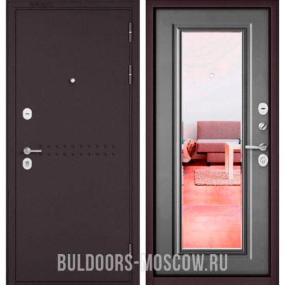 Железная дверь с зеркалом Бульдорс Mass-90 Букле шоколад R-4/Бетон серый 9P-140