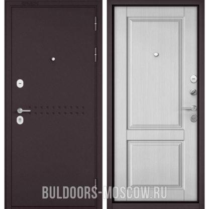Купить входную дверь Бульдорс Mass-90 Букле шоколад R-4/Дуб белый матовый 9SD-1 в Москве