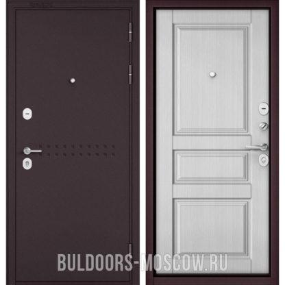Купить в Москве стальную светлую дверь Бульдорс Mass-90 Букле шоколад R-4/Дуб белый матовый 9SD-2