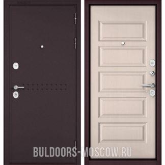 Стальная входная дверь Бульдорс Mass-90 Букле шоколад R-4/Дуб светлый матовый 9S-108