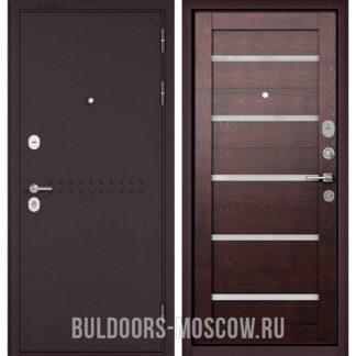 Металлическая дверь Бульдорс Mass-90 Букле шоколад R-4/Дуб темный CR-3