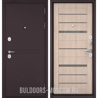 Входная дверь со стеклом Бульдорс Масс-90 Букле шоколад R-4/Ясень ривьера Айс CR-1