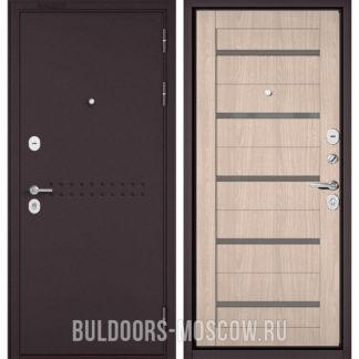Стальная дверь Бульдорс Масс-90 Букле шоколад R-4/Ясень ривьера Айс CR-3 со стеклом