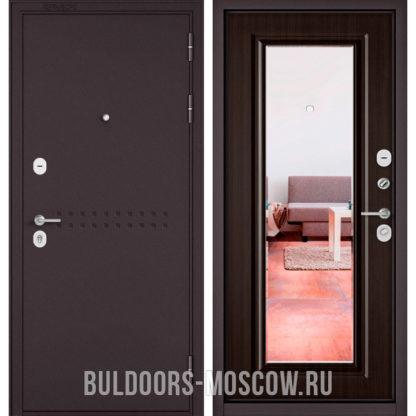 Металлическая входная дверь с зеркалом Бульдорс Mass-90 Букле шоколад R-4/Ларче темный 9P-140